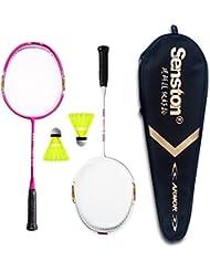 Senston Sets de badminton pour Enfants Junior Graphite Raquette de Badminton(3 couleurs)Y compris 2 Racket / 2 Volants / 1 Sac