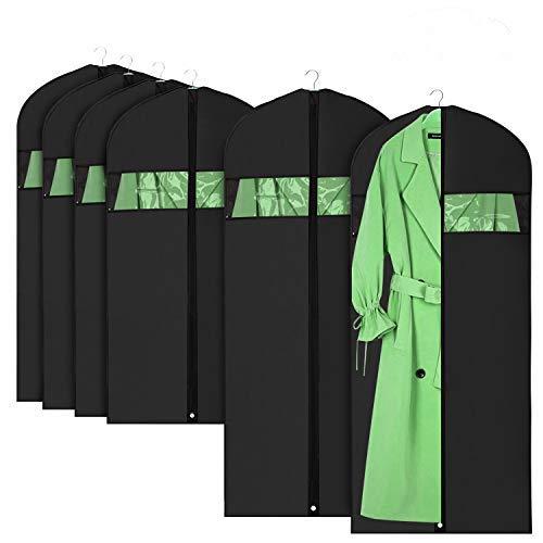 HOMMINI Copriabiti Antipolvere, Abbigliamento Copre per Abiti, Suit Bag, Custodie Abiti PEVA Trasparenti 6 Pezzi,Protezioni a Zip Integrali per Abiti|Giacche|Camicie|Gonne e Altro (60 * 120CM)