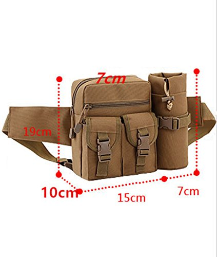 duoguan Tactical Taille Taschen mit Wasser Flasche Tasche Halter MOLLE Hip Gürteltasche Desert Camo