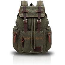 FANDARE Mochila de senderismo Daypacks Computadoras Laptop Mochila Satchel Bookbag Alpinismo Multi-función Vintage Bolsa de tela