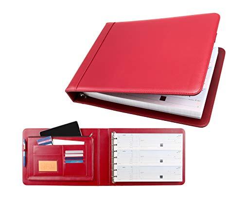 Business Check 7 Ringbuch für 3-Up-Checks PU Leder Portfolio-Hülle mit eingebautem Aufbewahrungs-Organizer rot (3-ring Binder Ipad)