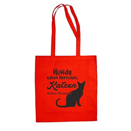 Baumwolltasche Jutebeutel -- Hunde haben Herrchen, Katzen haben Personal Rot-Schwarz