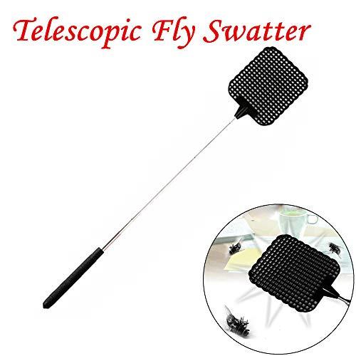 Sujing Ausziehbare Fliegenklatsche, manuelle Schwatschbekämpfung mit Edelstahl-Teleskopgriff schwarz -