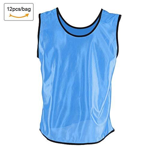 Zer one 12 Pack von 1 Set Trainingsweste Scrimmage Weste/Pinnies/Team Trainings Trikots Ärmelloses, Atmungsaktives Fußball Basketball Gruppieren (Blau) -