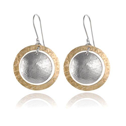 Zwei Ton von Hand gehämmerte Kreise und Scheiben-Ohrringe, 925Sterling Silber & 14K Gold gefüllt baumelnde Ohrringe