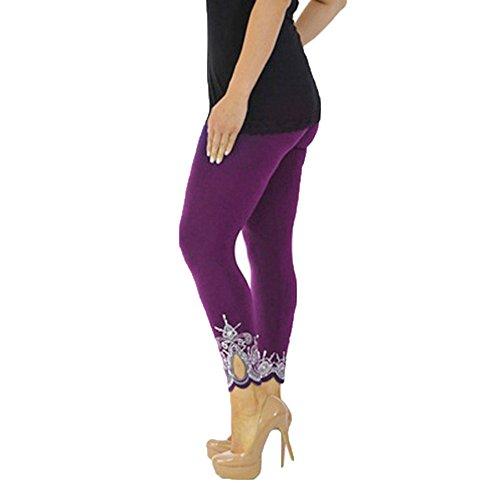 Preisvergleich Produktbild DAY.LIN Slim-Print Sporthose Yogahosen Frauen-Sport-Yoga-Druck-Trainings-mittlere Taillen-laufende Hosen-Eignungs-elastische Gamaschen (Lila, EUL/2XL)