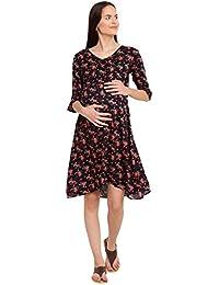 Mine4Nine Women's Rayon Maternity Mini Dress (Black, MNDR5602)