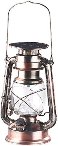 Lunartec Öllampe Akku: Dimmbare LED-Sturmlampe mit Akku & Solar, bronze, 30 Lumen, 1,2 Watt (Laterne LED) (Leuchte Bronze)