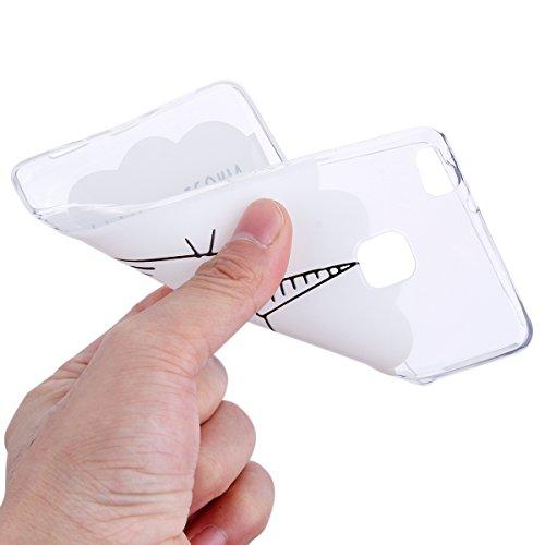 Handytasche Huawei P9 lite Hülle Silikon,Huawei P9 lite TPU Schutzhülle,Huawei P9 lite Handyhülle,Hpory Kreative Schön [Crystal Clear] Durchsichtig Dünn Tpu Silikon Yoga Katze Muster Transparent Ultra Einhorn Katze