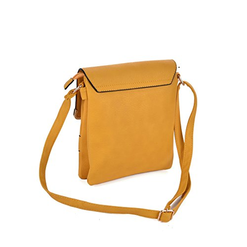 Premium Leather - Borsa a tracolla bambina donna unisex adulto Yellow