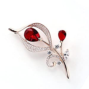 Hanie Damen Brosche Silber/Rosegold Blumen Anstecknadel Weiß Marquise Zirkonia kommt mit Edelstahl Kette können auch als Halskette tragen Passt Pullover Mantel Anzug Geschenk zum Geburtstag