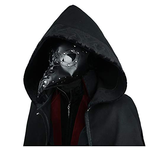 k Steampunk Unisex Retro Doktor Vogel Maske Gothic Cosplay PU Leder Maske Full Face Maskerade Maske Halloween Requisiten (Color-1) ()