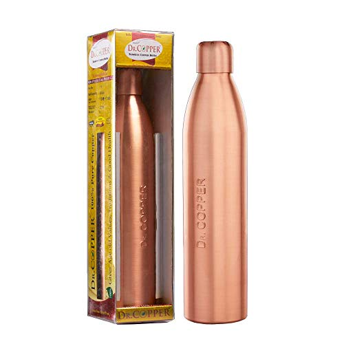 Dr. Copper Water Bottle with New Stylish and Advanced Leak Proof Cap -Copper Bottles 800 ml,for Kids for School,Sports & Office