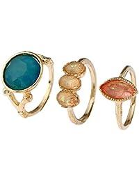 Lureme Sencillo oro redondo turquesa melocotón resina conjunta articulación clavo conjunto de anillo de tres anillos (rg001835)