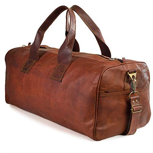 NAMA \'Columbus\' Weekender XL Reisetasche 60 cm 45 Liter Echtes Leder Vintage Look Sporttasche für Damen und Herren Duffle Bag Umhängetasche Naturleder Braun