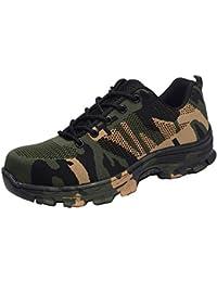 Zapatos Trabajo Hombre Zapatillas de Seguridad Puntera de Acero Mujer Botas Proteccion Excursionismo Caminar Sneakers Antideslizante Plataforma…