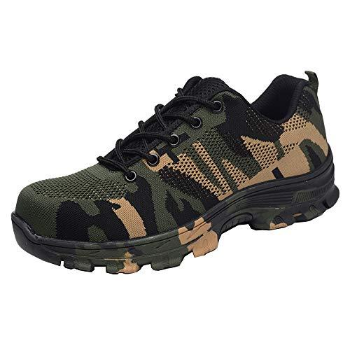 Zapatos Trabajo Hombre Zapatillas de Seguridad Puntera de Acero Mujer Botas Proteccion Excursionismo Caminar Sneakers Antideslizante Plataforma Camuflaje de Verde 38