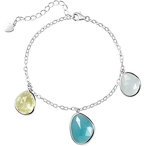 Franki Baker delicato & Dainty calcedonio e citrino sfaccettato Cristalli braccialetto in argento Sterling 925, lunghezza: 18,5+ 5cm di estensione - Sfaccettato Citrino Bracciale