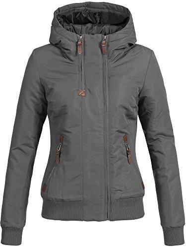 DESIRES Damen Elva Winterjacke mit gefütterter Kapuze Jacke 5 Farben XS-XL 2890 Dark Grey S