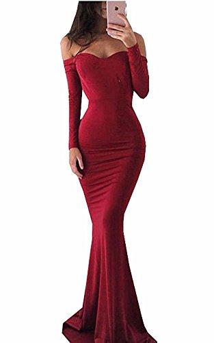 Frauen Schatz Nixe Satin Abschlussball Kleid langes Hülsen sexy Abend Partei Kleid