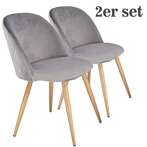 DICTAC 2er Set Küchenstühle Esszimmerstühle Wohnzimmerstühle Samt Weich Kissen Sitz und Rücken Mit Metallbeinen Esszimmer Stühle für ESS- und Wohnzimmer (Grau)