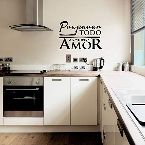 AIPIOR Spanische Küche Vinyl wandaufkleber Preparar Todo Con Amor Wandkunst Aufkleber Schriftzug Tapete für Küche Dekoration Wohnkultur 37x58cm
