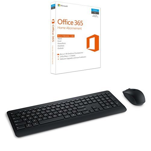 Microsoft Office 365 Home 5PCs/MACs - 1 Jahresabonnement + MS Wireless Desktop 900 with AES USB DE