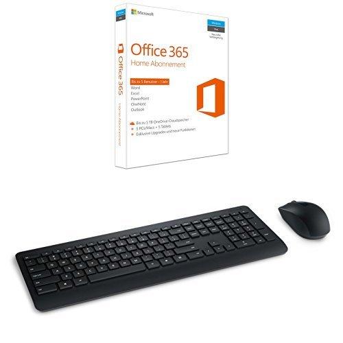 Microsoft Office 365 Home 5PCs/MACs - 1 Jahresabonnement + MS Wireless Desktop 900 with AES USB DE