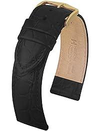 HIRSCH Crocograin 19mm Medium Black Leather Watch Strap 12302850-1-19