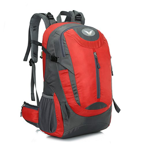 Outdoor Bergsteigen Rucksack Reisen Wandern Profi Schulter Tasche 45L Red