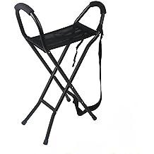 Taburete de bastón cuatro pies viejo aluminio ligero cuatro pies caña taburete plegable bastones, sillas de caña
