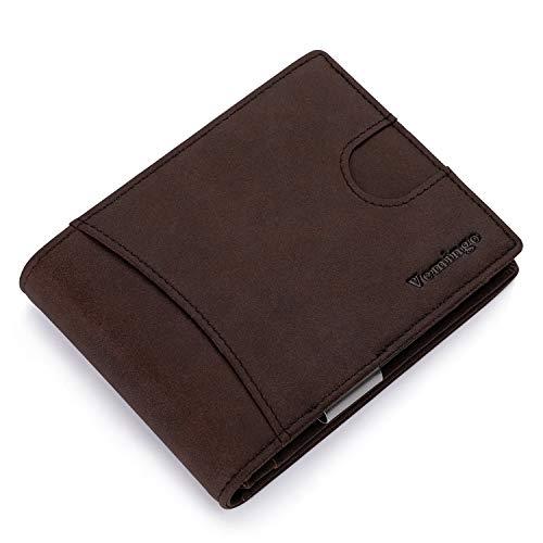Vemingo Cartera Hombre con Clip para Dinero Portamonedas con Bloqueo de RFID para Tarjeta de Crédito Carné de Identidad Cartera Monedero de Cuero PU Bolsillo Frontal