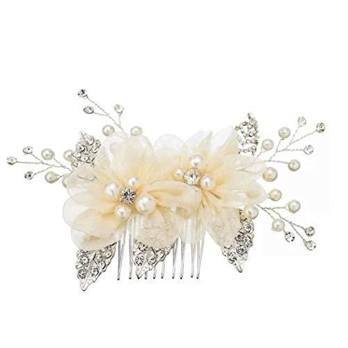 Mondora Braut Haarkamm Clip Blume Spitze Dame's Elfenbeinfarbe Künstliche Perle Österreichischen Kristall Silber-Ton Klar