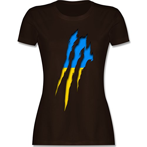 Shirtracer Länder - Ukraine Krallenspuren - Damen T-Shirt Rundhals Braun