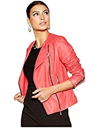 Debenhams Star by Julien Macdonald Womens Pink Collarless Faux Leather Jacket