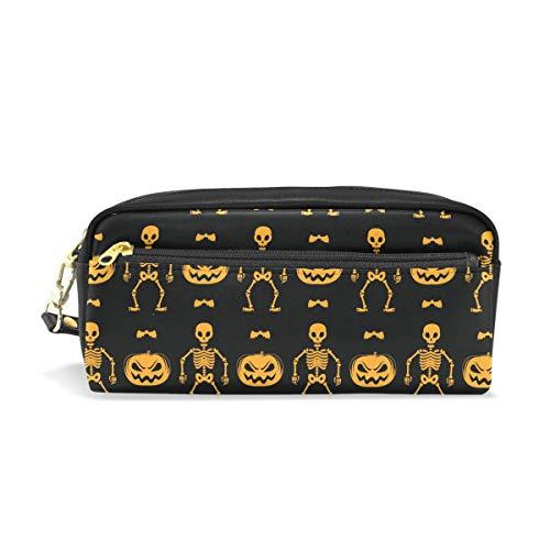 ISAOA - Estuche de gran capacidad con cremallera para papelería, calaveras, calabazas y bates y bolígrafos, bolsa para cosméticos, bolsa de maquillaje, regalo de Navidad para niñas y niños