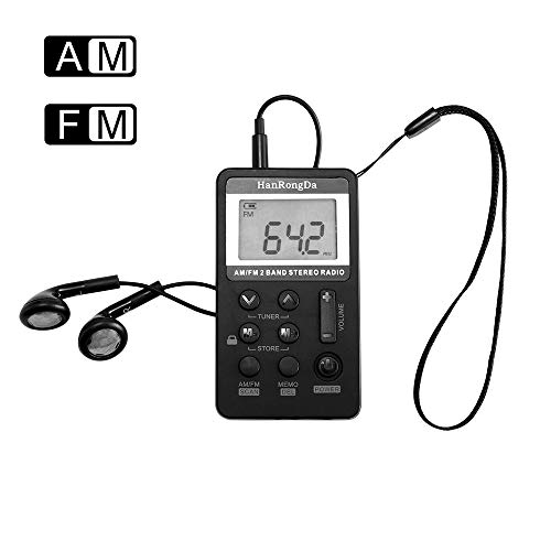 Am FM Small Portable Radio, Frontoppy Mini Radio FM Receiver Alarm Clock LED Indicator, USB / Battery for Walking Hiking Running (8.5 * 4.9 * 1.3cm)