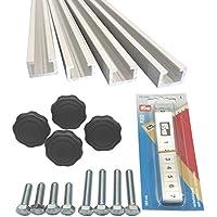 4unidades de 1m aluminio de perfil C + Cinta Métrica + con mango de estrella tuercas M6+ Tornillos/aluminio c Perfil