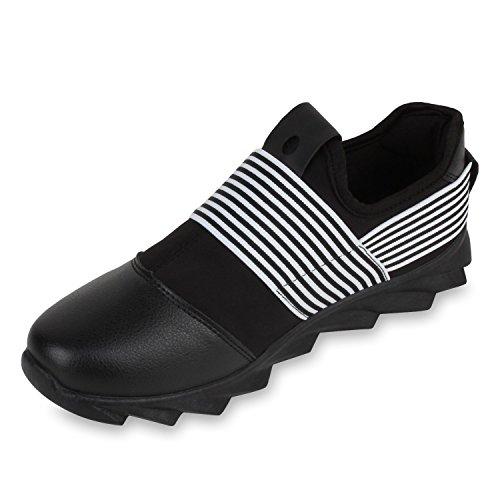 Herren Slip-ons Lederoptik Profil Sohle Sneakers Slipper Schwarz