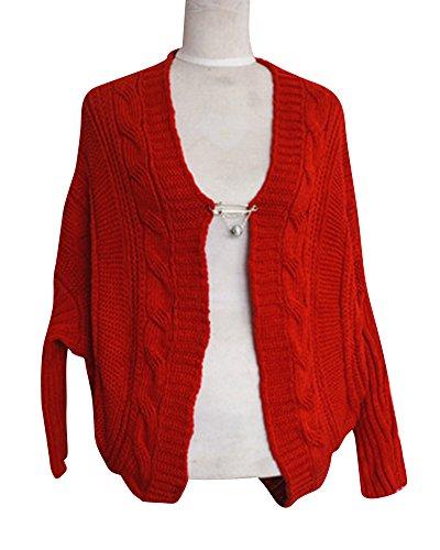 Donna Casual Asimmetrico Anteriore Aperto Cardigan Knitted Manicotto di Batwing Tops Giacca Cappotto Rosso