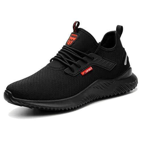 ZOEASHLEY Sicherheitsschuhe Herren Damen Arbeitsschuhe S3 Leicht Stahlkappe Sneaker, Schwarz-k, 43 EU