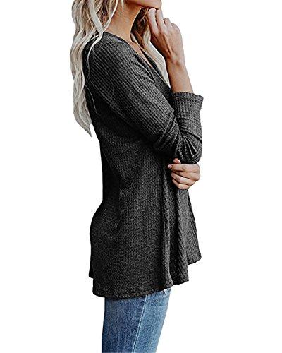 Cnfio Damen Langarmshirt Shirt Bluse V-Ausschnitt Casual Oberteil Tops Grau