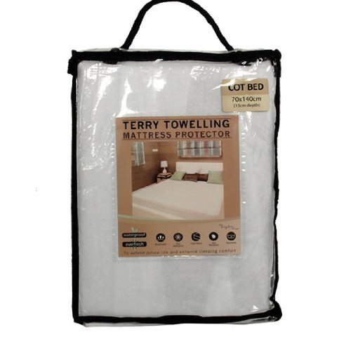 Cosy Touch Bedding Terry Towel Towelling Waterproof Fitted Sheet Mattress Pillow Protector Covers – Cot Bed (70cm x 140cm)