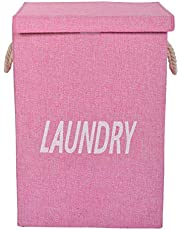 EOWQON® 72L Foldable Large Fabric Laundry Bag with Lid and Rope Handles