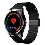STEAM PANDA Pulsera de Relojes Inteligentes con Monitor de Ritmo cardíaco y monitorización de la presión Arterial Durante el sueño 32MB + 32MB 1.3 Pulgadas IPS Bluetooth 4.0 230mAh para Hombres
