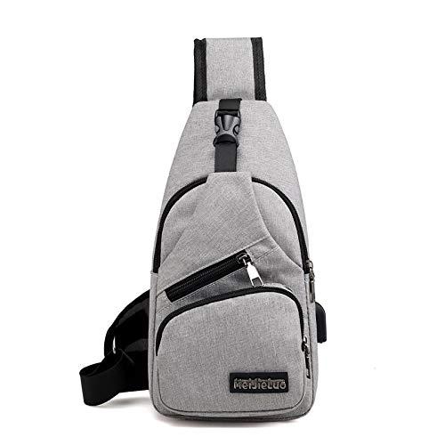Seturrip - Male Schultertasche USB-Lade Umhängetaschen Männer Anti-Diebstahl-Brusttasche Schule Sommer Kurztrip Messengers Bag [Grau]