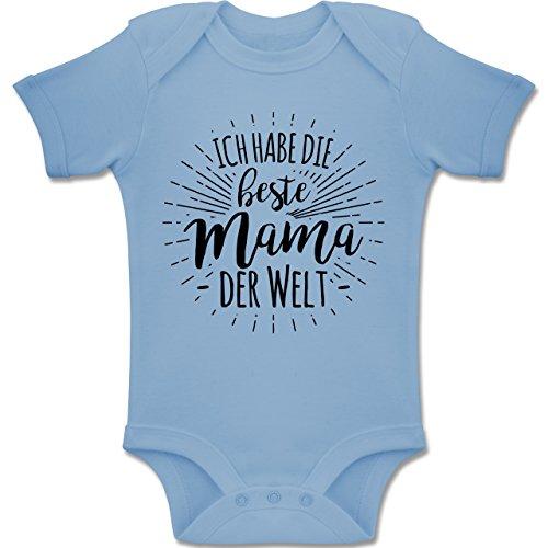 Sprüche Baby - Ich Habe die Beste Mama der Welt - 3-6 Monate - Babyblau - BZ10 - Baby Body Kurzarm Jungen Mädchen