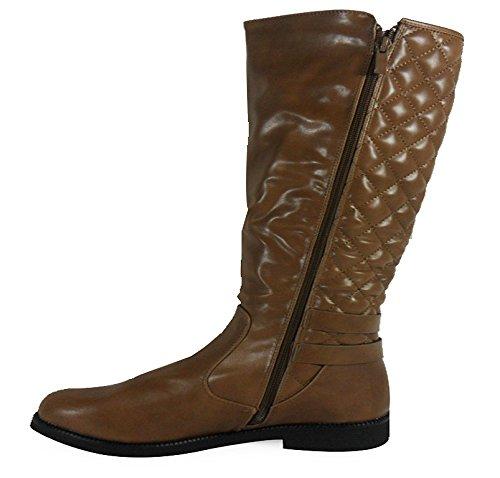 Loudlook Nouvelle Femmes Mesdames Hiver Chaud Noir Combat Longueur Au Genou Buckle Boot Chaussures Taille 3-8 Kaki