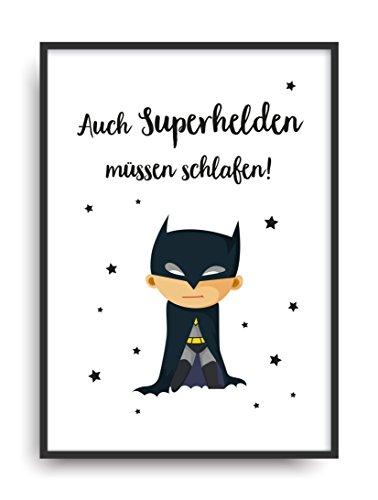 Kunstdruck SUPERHELD Poster Bild ungerahmt DIN A4 Geschenk (Mädchen Superhelden Kostüm Ideen)