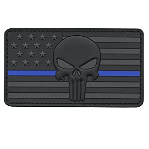 ALL BLACK Blue Line Punisher American Drapeau Morale PVC Gomme Touch Fastener Écusson Patch